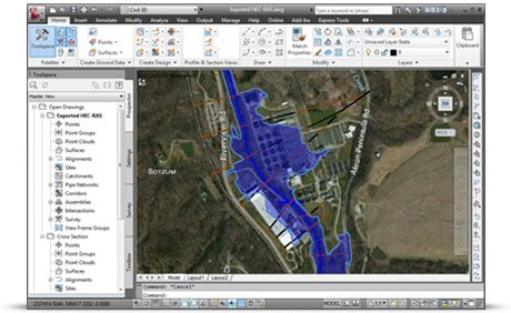 Integrate HEC-RAS directly with AutoCAD drawing files and ESRI ArcGIS map data