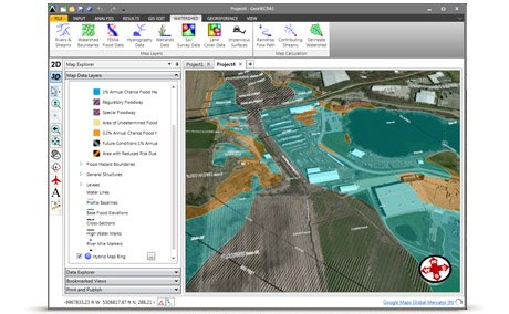 Utilize web-based mapping services for aerial orthophotos, FEMA flood maps, watershed delineation, river centerline alignment, and more.